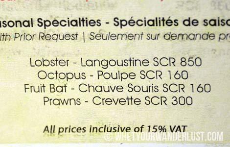 Marie-Antoinette menu