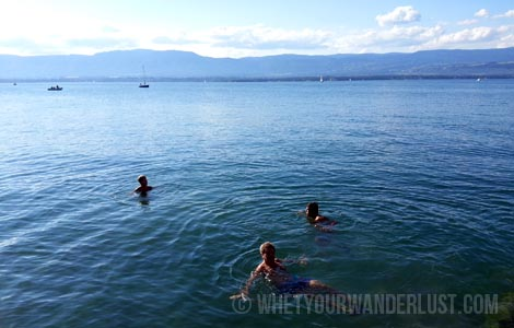 Swimming in Lake Geneva