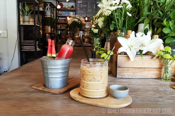Iced coffee and watermelon juice at Woo Cafe Chiang Mai